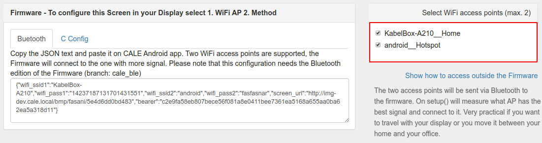 CALE Bluetooth config
